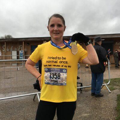 Yvonne celebrates her great run in the rain